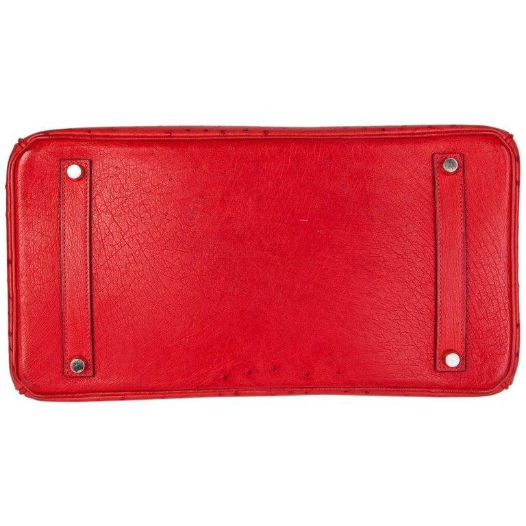 HERMES Rouge Vif red OSTRICH leather & Palladium BIRKIN 35 Bag In Excellent Condition For Sale In Zürich, CH