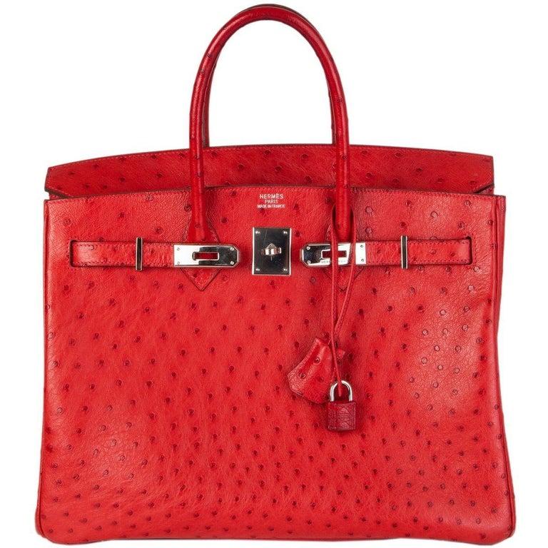 Women's HERMES Rouge Vif red OSTRICH leather & Palladium BIRKIN 35 Bag For Sale