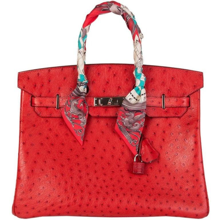 HERMES Rouge Vif red OSTRICH leather & Palladium BIRKIN 35 Bag For Sale 1