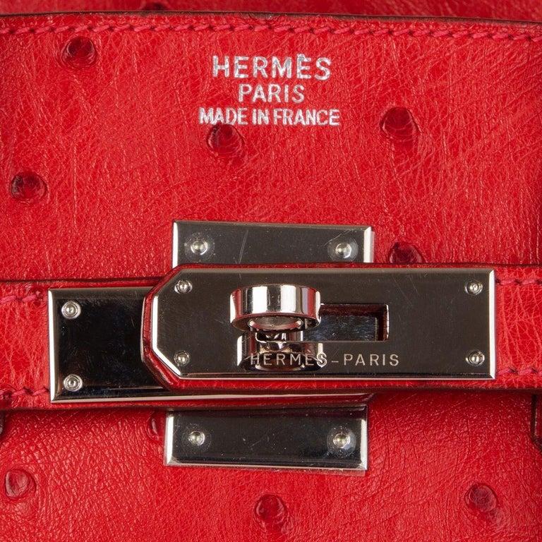 HERMES Rouge Vif red OSTRICH leather & Palladium BIRKIN 35 Bag For Sale 3