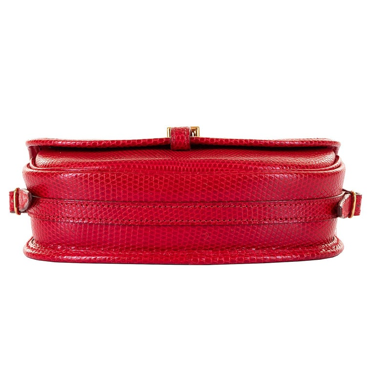 Red Hermes 'Rouge Vif' Shiny LizardMini Evening Bag with Gold hardware - Very Rare For Sale