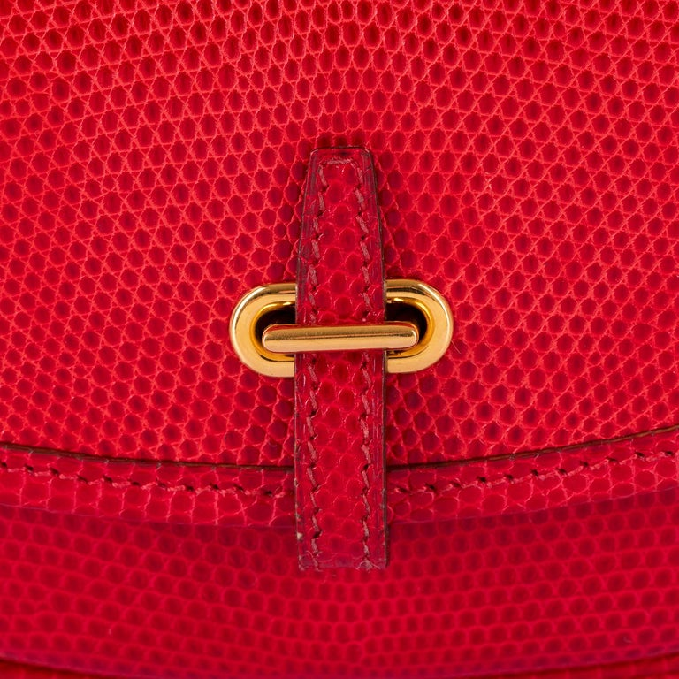 Hermes 'Rouge Vif' Shiny LizardMini Evening Bag with Gold hardware - Very Rare In Excellent Condition For Sale In London, GB