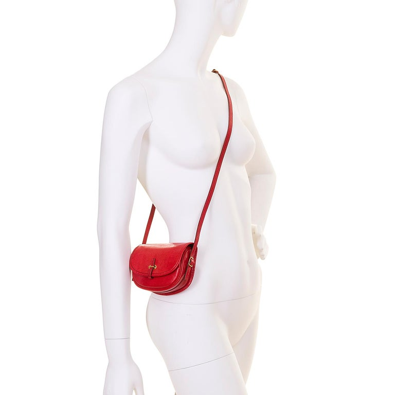Hermes 'Rouge Vif' Shiny LizardMini Evening Bag with Gold hardware - Very Rare For Sale 1