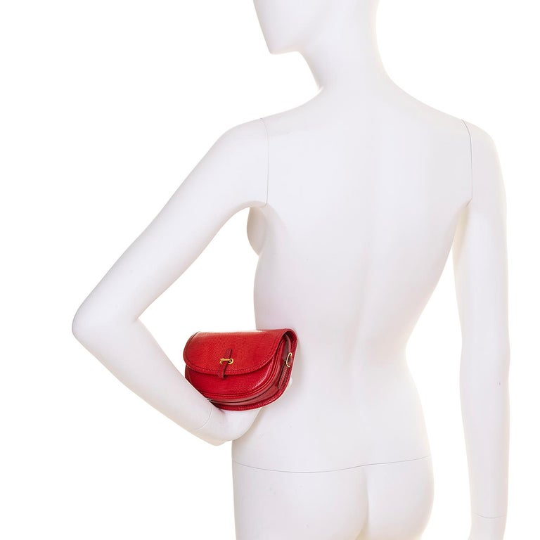Hermes 'Rouge Vif' Shiny LizardMini Evening Bag with Gold hardware - Very Rare For Sale 2