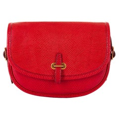 Hermes 'Rouge Vif' Shiny LizardMini Evening Bag with Gold hardware - Very Rare