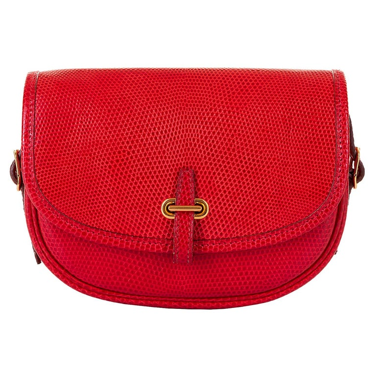 Hermes 'Rouge Vif' Shiny LizardMini Evening Bag with Gold hardware - Very Rare For Sale