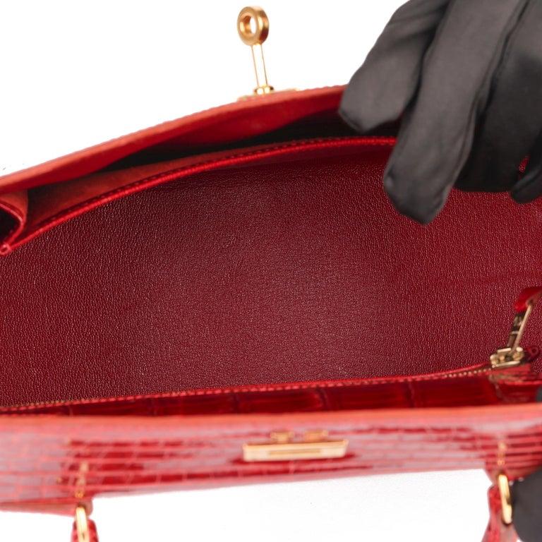 Hermès Rouge Vif Shiny Porosus Crocodile Leather Vintage Kelly 25cm Sellier For Sale 5