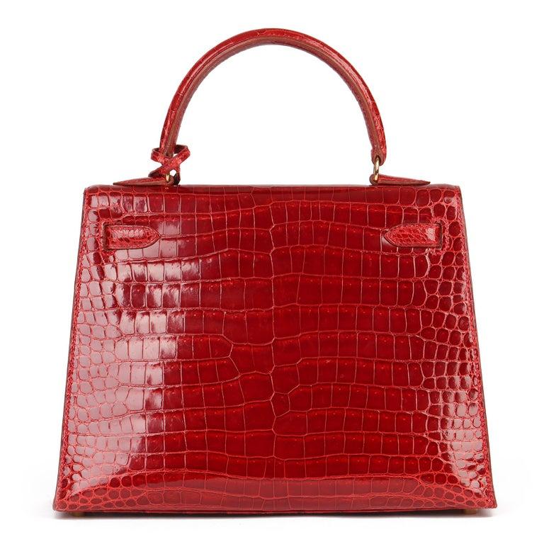 Women's Hermès Rouge Vif Shiny Porosus Crocodile Leather Vintage Kelly 25cm Sellier For Sale