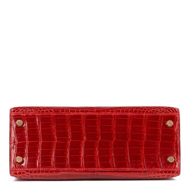 Hermès Rouge Vif Shiny Porosus Crocodile Leather Vintage Kelly 25cm Sellier For Sale 1