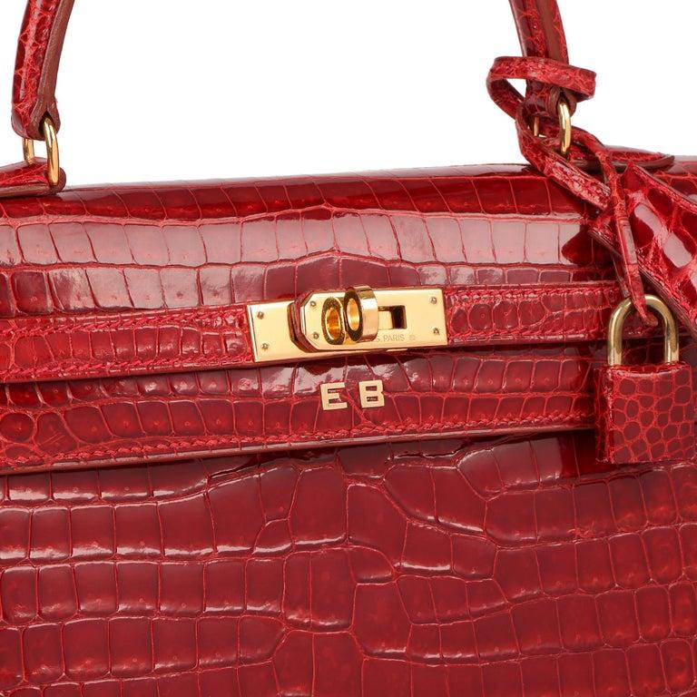 Hermès Rouge Vif Shiny Porosus Crocodile Leather Vintage Kelly 25cm Sellier For Sale 2