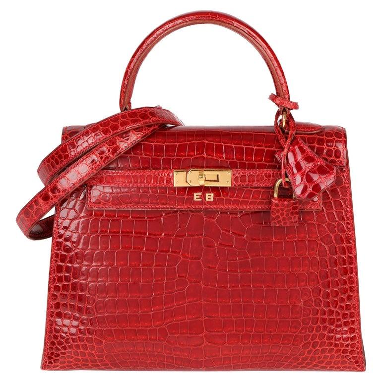 Hermès Rouge Vif Shiny Porosus Crocodile Leather Vintage Kelly 25cm Sellier For Sale