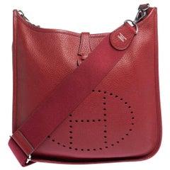 Hermes Rouge Vif Togo Leather Evelyne III PM Bag
