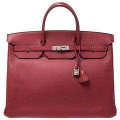 Hermes Rouge Vif Vache Liegee Leather Palladium Hardware Birkin 40 Bag