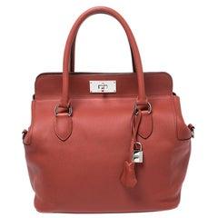 Hermes Rouge Vinitienne Ever Color Leather Palladium Toolbox 26 Bag