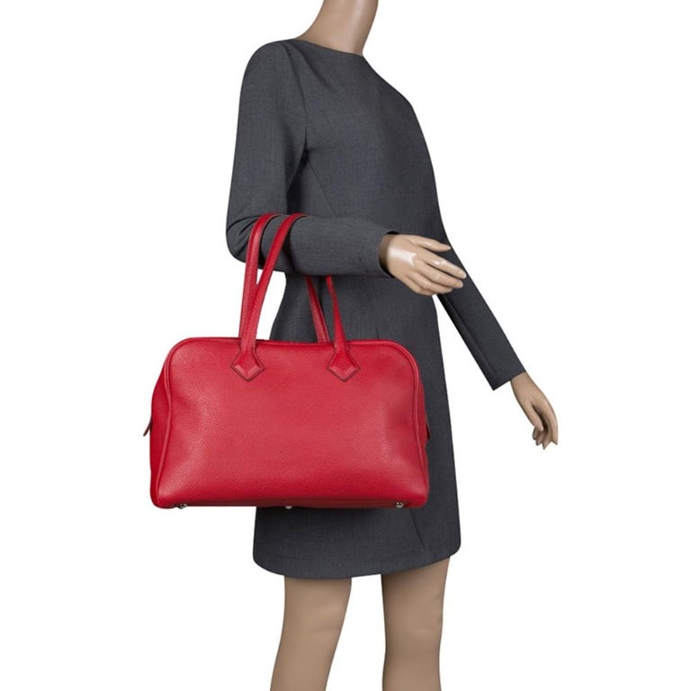 Red Hermes Rougue Garance Togo Leather Victoria II Bag For Sale