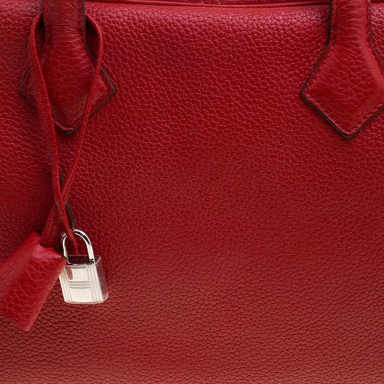 Hermes Rougue Garance Togo Leather Victoria II Bag For Sale 1