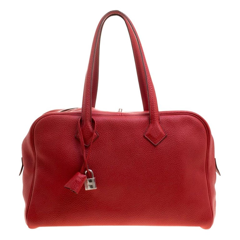 Hermes Rougue Garance Togo Leather Victoria II Bag For Sale