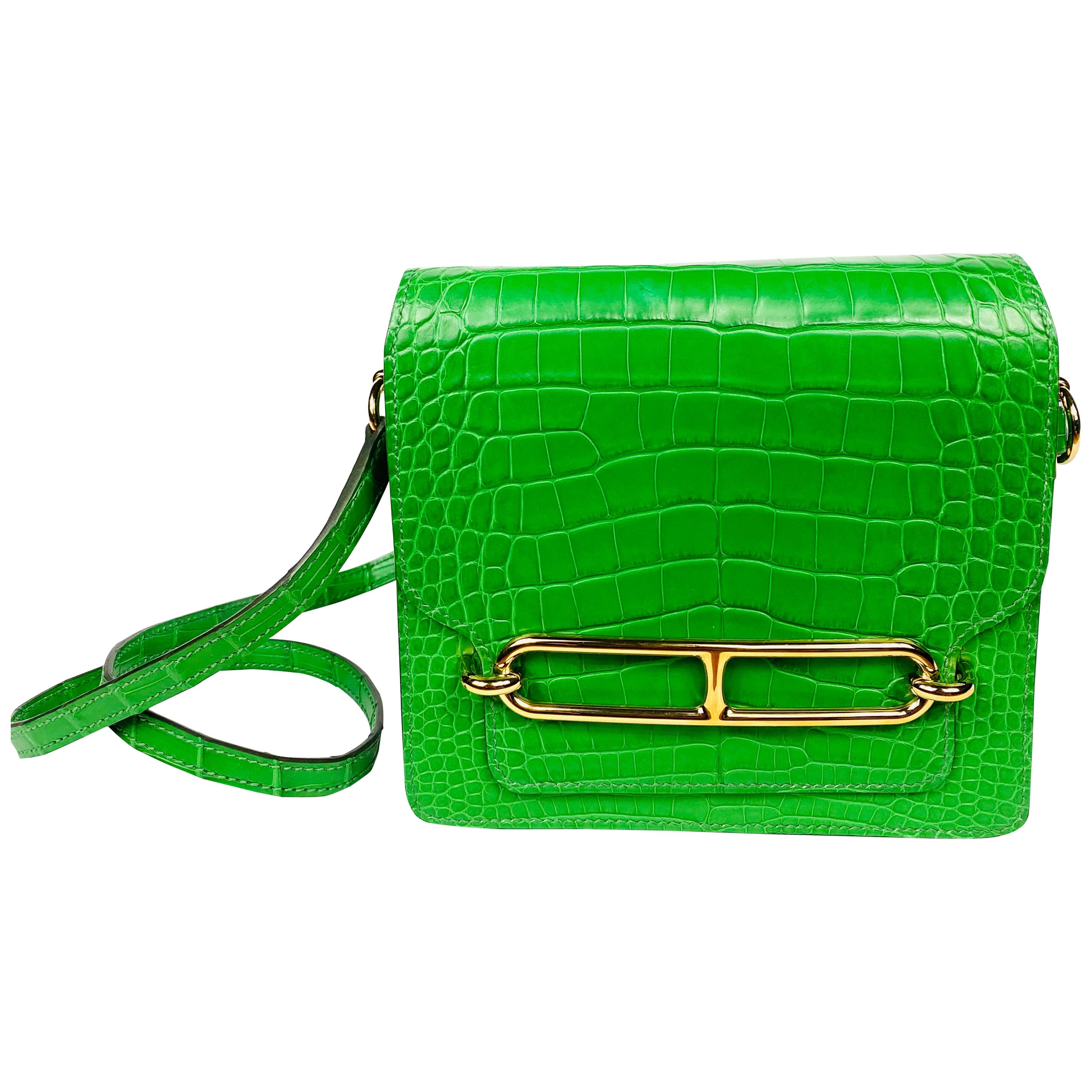 HERMES Roulis Mini Cactus Green Alligator Crossbody Shoulder Handbag