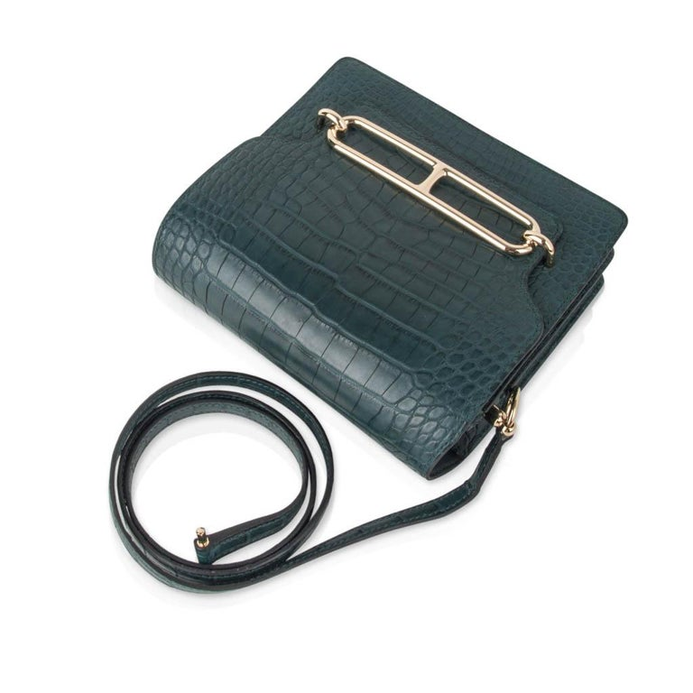 Black Hermes Mini Roulis Bag Vert Cypress Alligator (Convertible Shoulder / Crossbody) For Sale