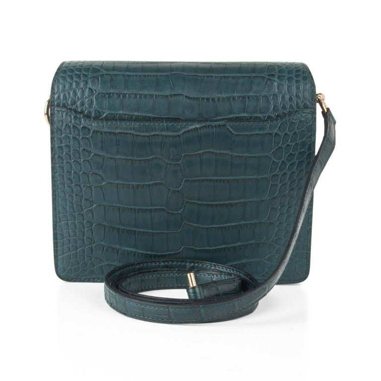 Hermes Mini Roulis Bag Vert Cypress Alligator (Convertible Shoulder / Crossbody) For Sale 1