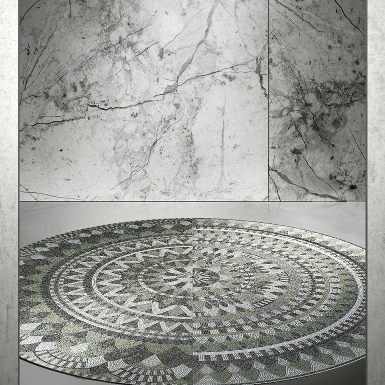 Named after the Olympian emissary and messenger of the gods in Greek mythology, this eye-catching circular mosaic panel features a striking geometry inspired by Sicilian embroidery designs, in elegant nuances of sage green with graphite and dark