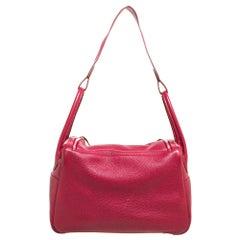 Hermes Rubis Clemence Leather Palladium Hardware Lindy 34 Bag