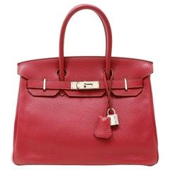 Hermès Ruby Red Togo 30 cm Birkin with Palladium