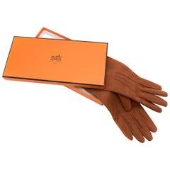 Hermes Rustic Brown Leather & Suede Gloves
