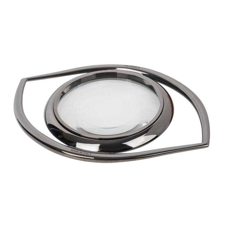 Women's or Men's Hermes Ruthenium Magnifying Glass / Paperweight Eye of Cleopatra For Sale