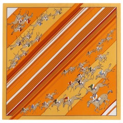 "HERMES S/S 2004 ""Les Courses"" Equestrian Races Hand Rolled Silk Twill Scarf"