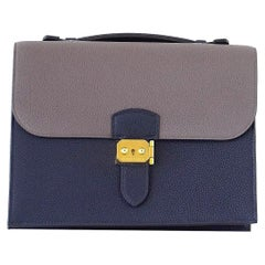 Hermes Sac A Depeche 27 Bag Limited Edtion HSS Blue Nuit / Etain Togo Gold