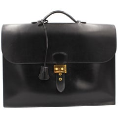 Hermes  Sac a Depeches Briefcase Bag in black box Leather