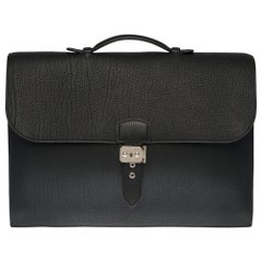 Hermès Sac à dépêches briefcase in black Fjord leather with silver hardware
