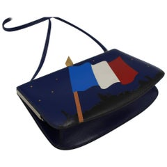 Hermès Sac à Malice in blue leather, with the French flag in leather patchwork