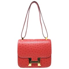 Hermes Sac Costance Red Ostrich, 2019