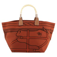 Hermes Sac Steeple Tote Printed Toile with Wood