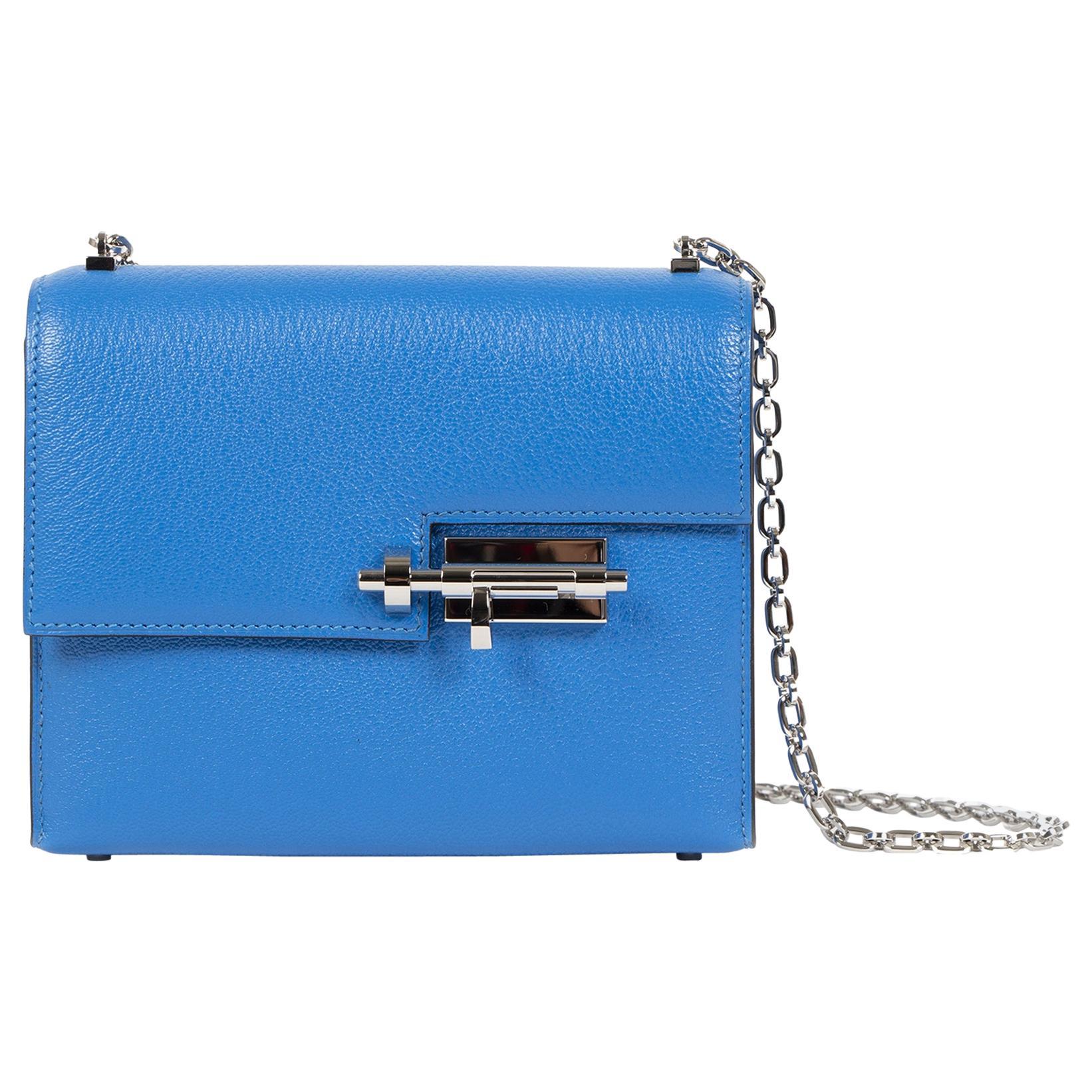 Hermès Sac Verrou Chaine Mini Chevre Mysore 17 Bleu Hydra