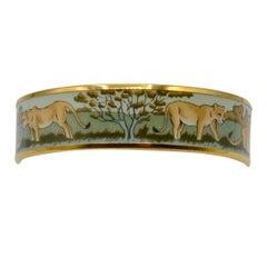 "Hermes ""Safari"" Enamel and Gold Plated Bangle Bracelet"