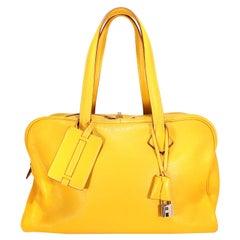 Hermès Saffron Clemence 35 cm Victoria II Bag