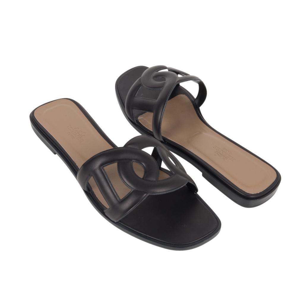 Hermes Sandal Flat Omaha Black Shoe 39
