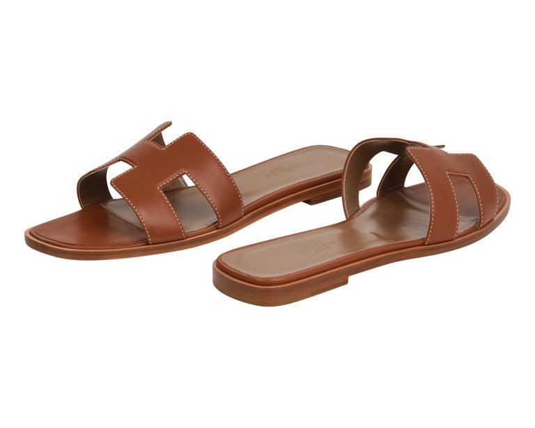 Women's Hermes Sandal Flat Oran Gold Box Calfskin 36.5 / 6.5 New For Sale
