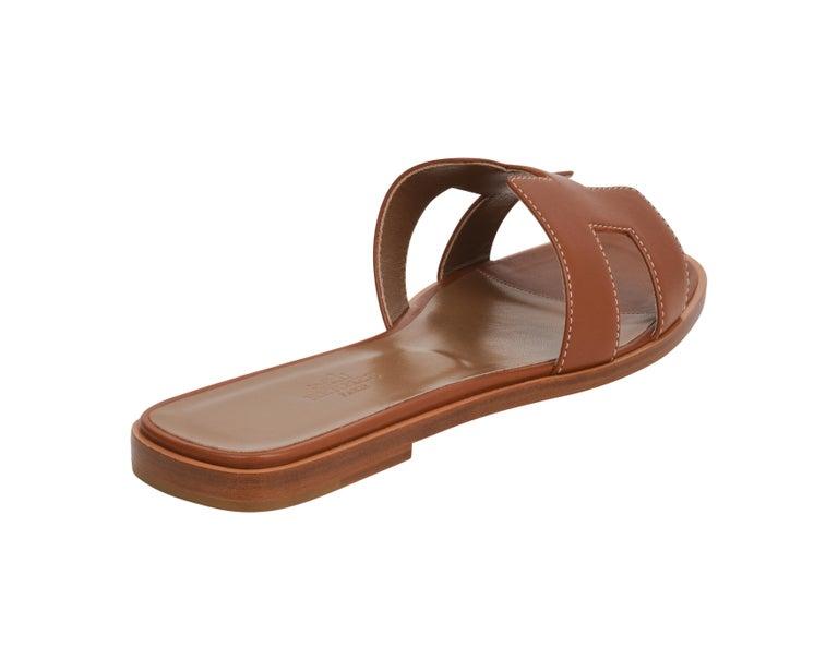 Hermes Sandal Flat Oran Gold Box Calfskin 36.5 / 6.5 New For Sale 1