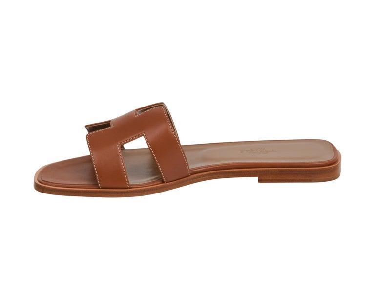 Hermes Sandal Flat Oran Gold Box Calfskin 36.5 / 6.5 New For Sale 2