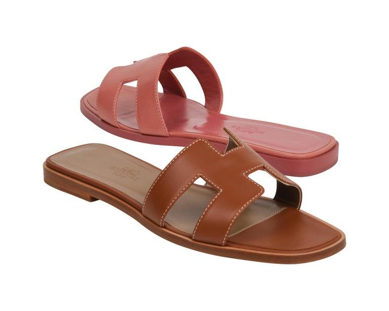 Hermes Sandal Flat Oran Gold Box Calfskin 36.5 / 6.5 New For Sale 3