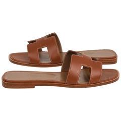 Hermes Sandal Flat Oran Gold Box Calfskin 36.5 / 6.5 New