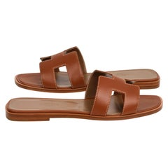 Hermes Sandal Flat Oran Gold Box Calfskin Shoes 39 / 9 New W/ Box