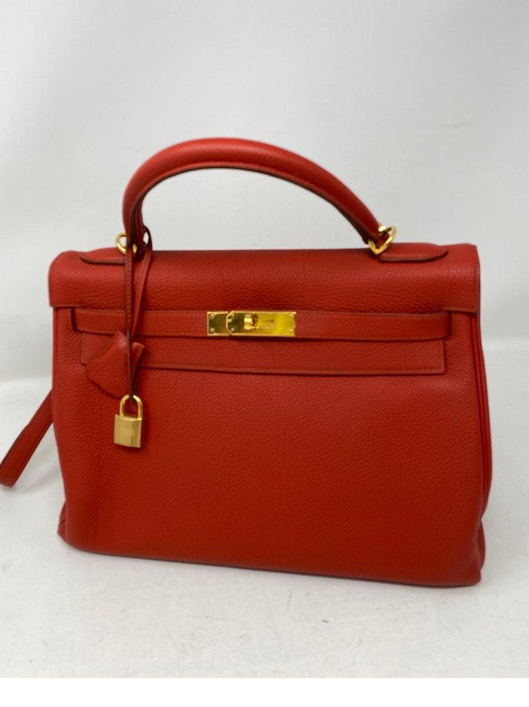 Red Hermes Sanguine Kelly 32 Bag  For Sale