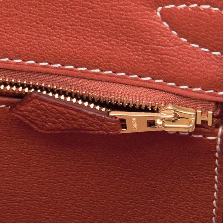 Hermes Sanguine Orange Red 30cm Togo Birkin Bag Gold Z Stamp, 2021 For Sale 6