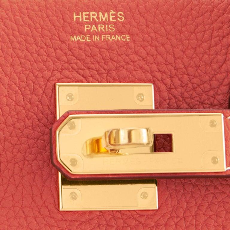 Hermes Sanguine Orange Red 30cm Togo Birkin Bag Gold Z Stamp, 2021 For Sale 7