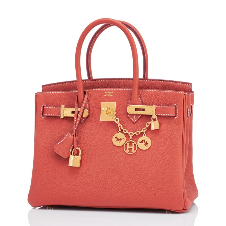 Hermes Sanguine Orange Red 30cm Togo Birkin Bag Gold Z Stamp, 2021 Just purchased from Hermes store! Bag bears new interior 2021 Z Stamp. Brand New in Box. Store Fresh. Pristine Condition (with plastic on hardware) Perfect gift! Comes in full set